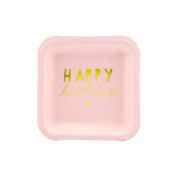 Assiettes Happy Birth pink 14x14(x6)