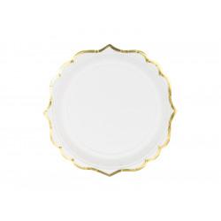 Assiettes blanche ligne or 18.5cm(x6)