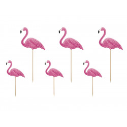 Cake toppers flamant rose (x6)