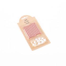 Bougies rose gold/paillettes 6cm (x10)