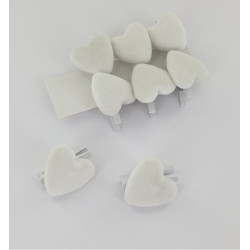 Coeurs blanc velours s/pince (x8)