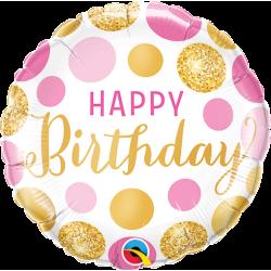 Ballon birthday pois rose et or