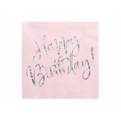 Serviettes Happy Birthday rose 33x33cm (x20)