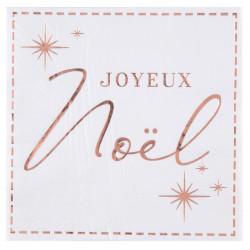 Serviettes joyeux noël blanche et rose gold x20