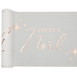 Chemin de table lin noël rose gold 3m