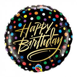 Ballon anniversaire pois noir et multi
