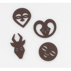 Confettis bois masques africain (x8)