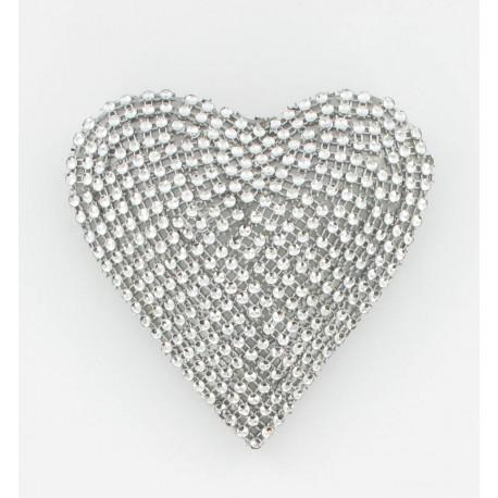 Coeur strass argent 12cm