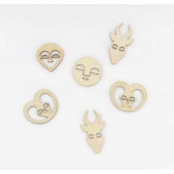 Confettis bois masques africains (x8)