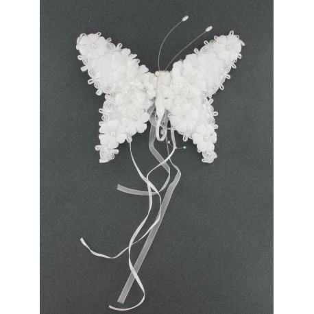 Papillon blc perles s/clip