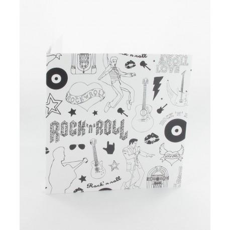 Cartes rock blanc noir  (x5)