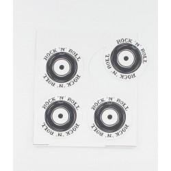 Etiquettes ronde rock blanc noir (x12)