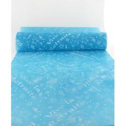 Chemin de table vive la retraite 30cmx10m turquoise