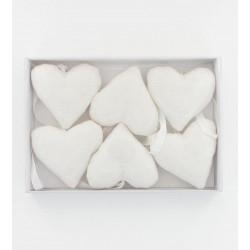 Coeurs tissu beige 6x5cm (x6)