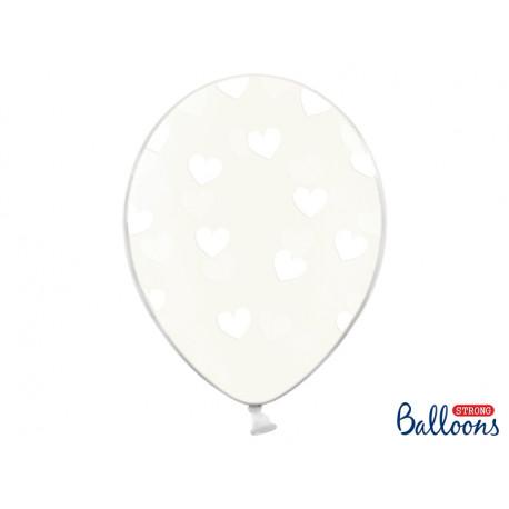 Ballons crystal coeur blanc (x6)