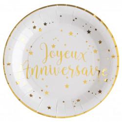 10 assiettes anniversaire blanche et Or