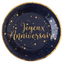 10 assiettes anniversaire marine et Or