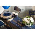 Chemin de table anniversaire lin marine et Or 3m