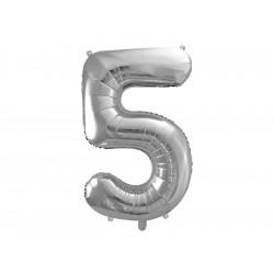 Ballon chiffre 5 argent 86cm