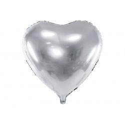 Ballon coeur argent 61cm