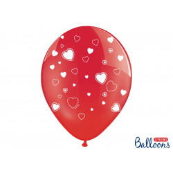 Ballons rouge coeur blancs (x6)