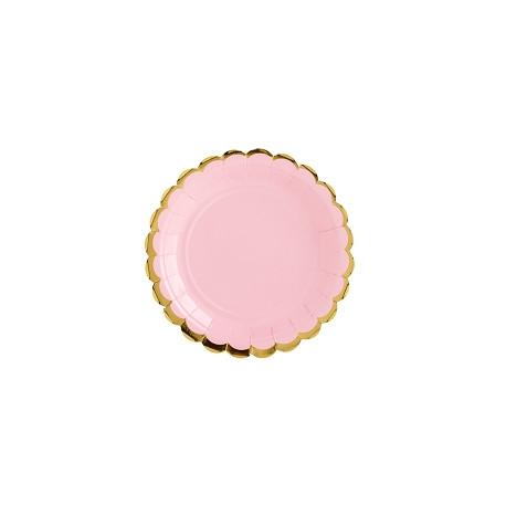 Assiettes bord Or rose 18cm (x6)