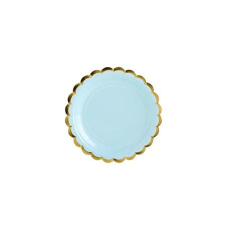 Assiettes bord Or bleu clair 18cm (x6)