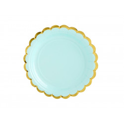 6 assiettes mint bord Or 18cm