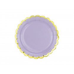 6 assiettes lilas bord Or 18cm