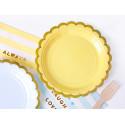 6 assiettes jaune bord Or 18cm