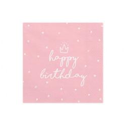 Serviette Happy birthday rose 33x33cm (x20)