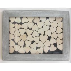 Cadre 30x40 avec 53 coeurs bois
