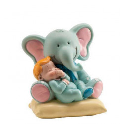 Figurine bébé bleu + éléphant