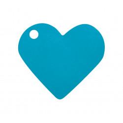 Etiquettes coeur turquoise (x10)