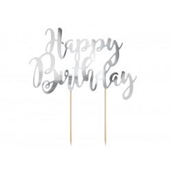 Cake topper happy birthday argent