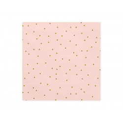 Serviette rose pois or  33x33cm (x20)