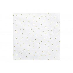 Serviette blanc pois or 33x33cm (x20)