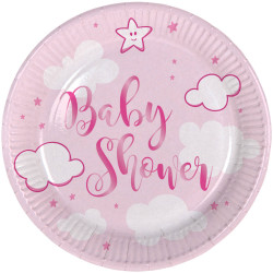 Assiettes Baby Shower rose 18 cm(x8)