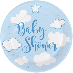 Assiettes Baby Shower bleu 18cm  (x8)
