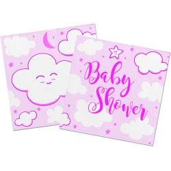 Serviettes Baby Shower rose (x20)