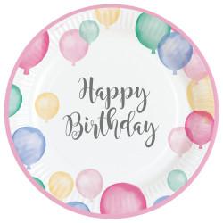 Assiettes birthday ballons (x8)