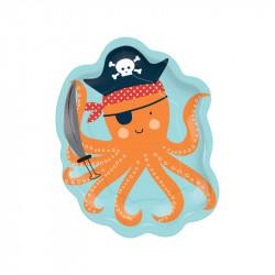 Assiettes pirate poulpe (x8)