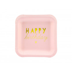 Assiettes Happy Birth pink 14x14(x6)