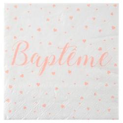 Serviettes baptême corail (x20)