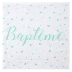 Serviettes baptême mint (x20)