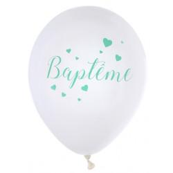Ballons Baptême mint (x8)
