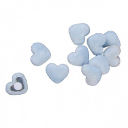 Sachet coeurs bleu velours adh. (x10)