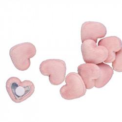 Sachet coeurs rose velours adh. (x10)
