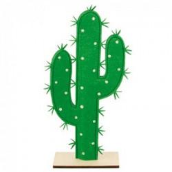 Cactus feutre pied bois 16x34cm