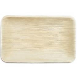 4 assiettes rectangular feuille de palme 25x16cm